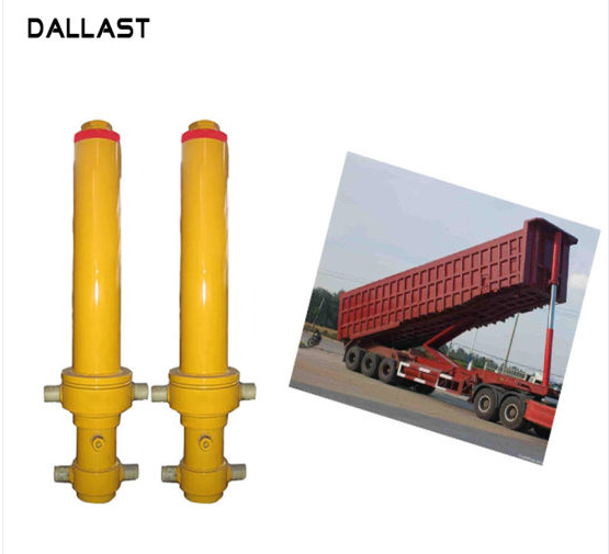 Piston Rod Single Acting Dump Truck Hydraulic Cylinder Steel Material Customized
